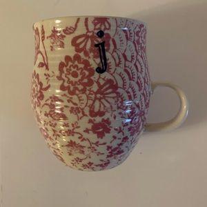 """Anthropologie letter """"J"""" floral mug"""